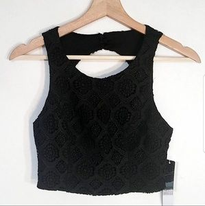 NWT My Michelle size 3 Black Lace Crop Top Juniors